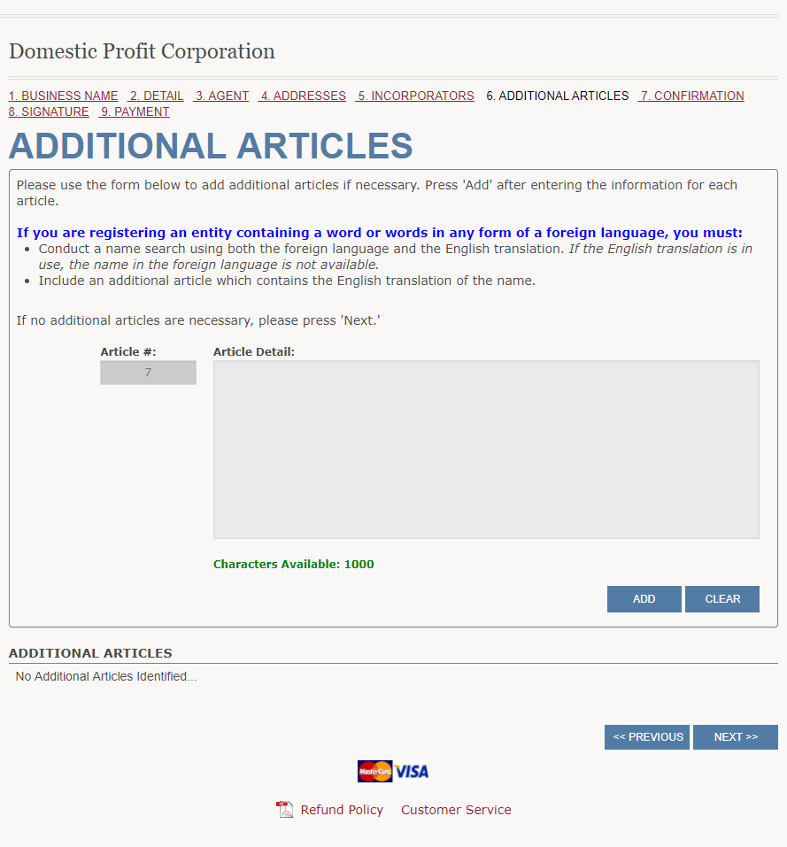 List Additional Articles Wyoming Corporation